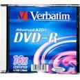 VERBATIM DVD-R disk 4,7 GB 16X  Matte Silver Slim box - 43547